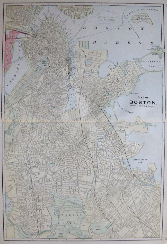 Antique BOSTON Map Original Map Of Boston Massachusetts Print - Antique boston map