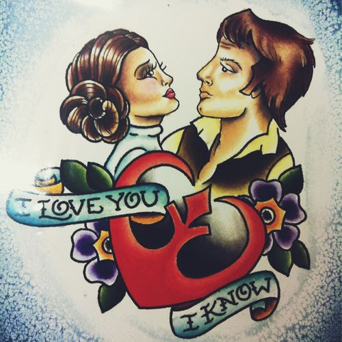 Sailor Jerry Styled Star Wars Tattoo - Han Solo and ... How Old Is Princess Leia In Star Wars Rebels