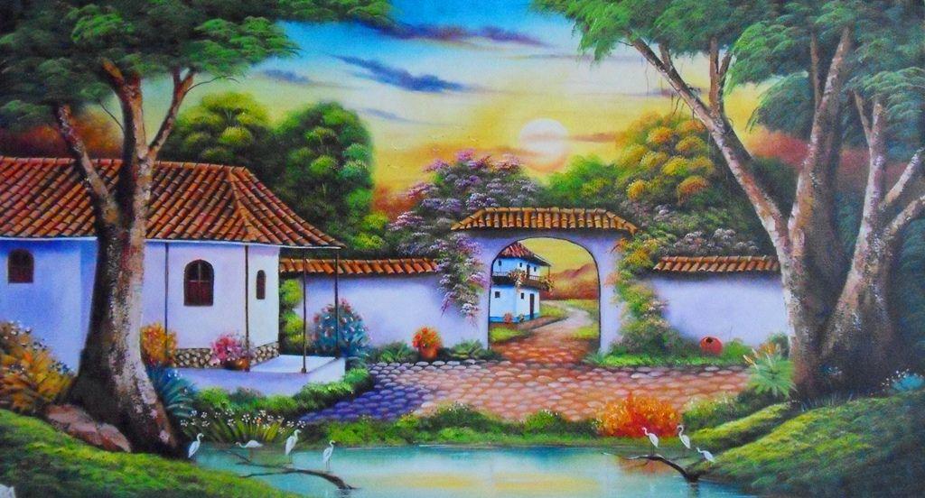 Im genes arte pinturas cuadros de paisajes f ciles para for Pintura para tejas