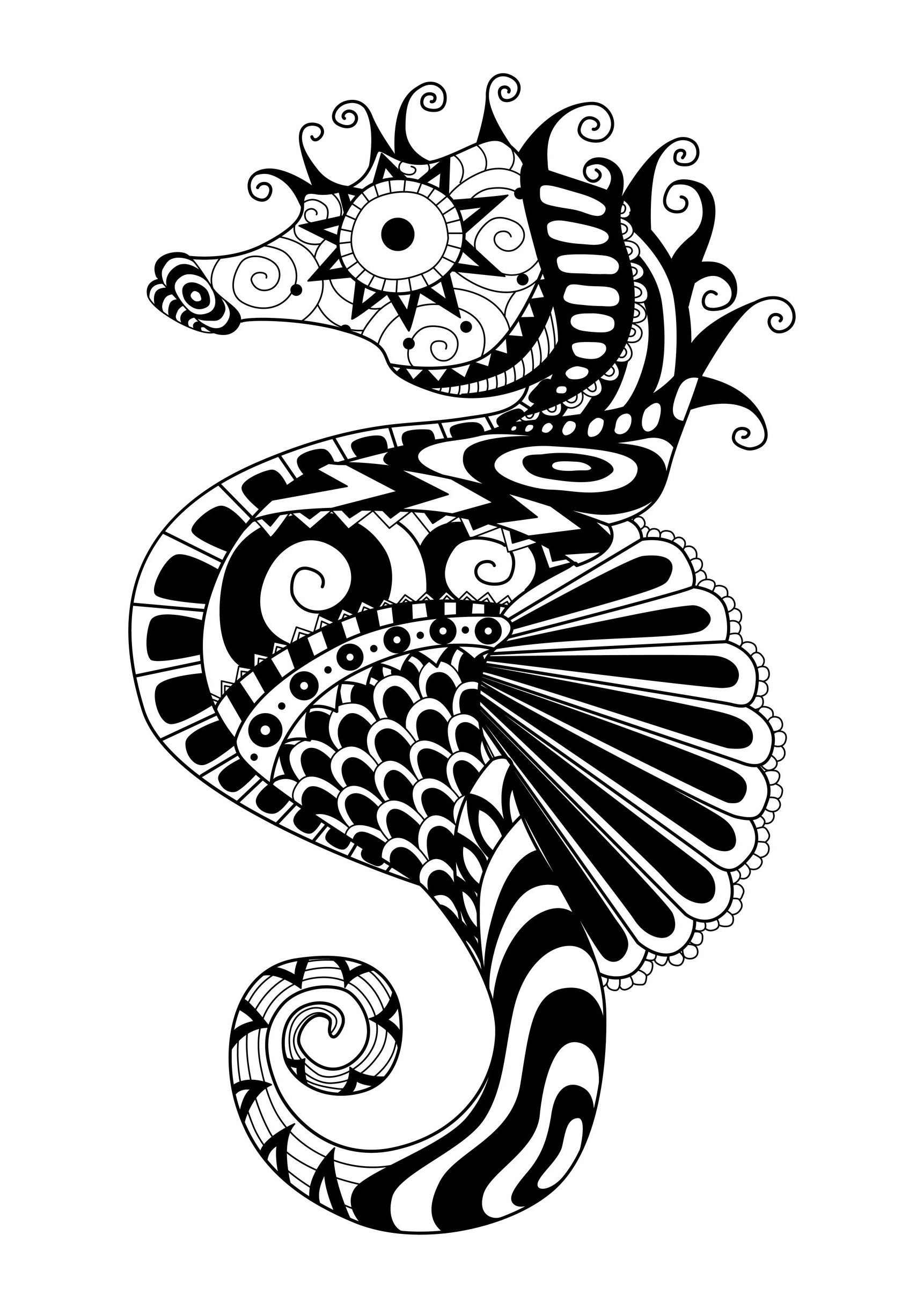Free Coloring Page Adult Zentangle Sea Horse By Bimdeedee A With Zimple Style