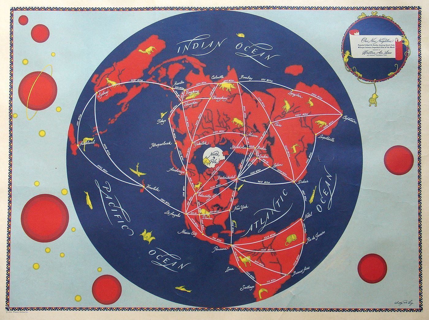 airline connections map by Sally De Long in 1944