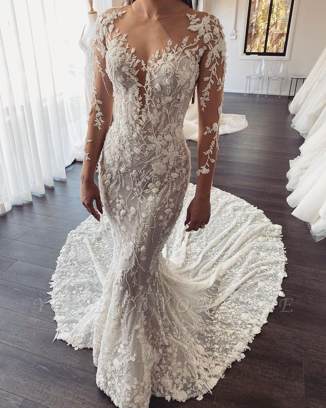 Elegant Jewel Long Sleeve Illusion Back Lace Floral Fitted Mermaid Wedding Dresses Wedding Dresses Lace Online Wedding Dress Designer Wedding Dresses [ 1350 x 1080 Pixel ]
