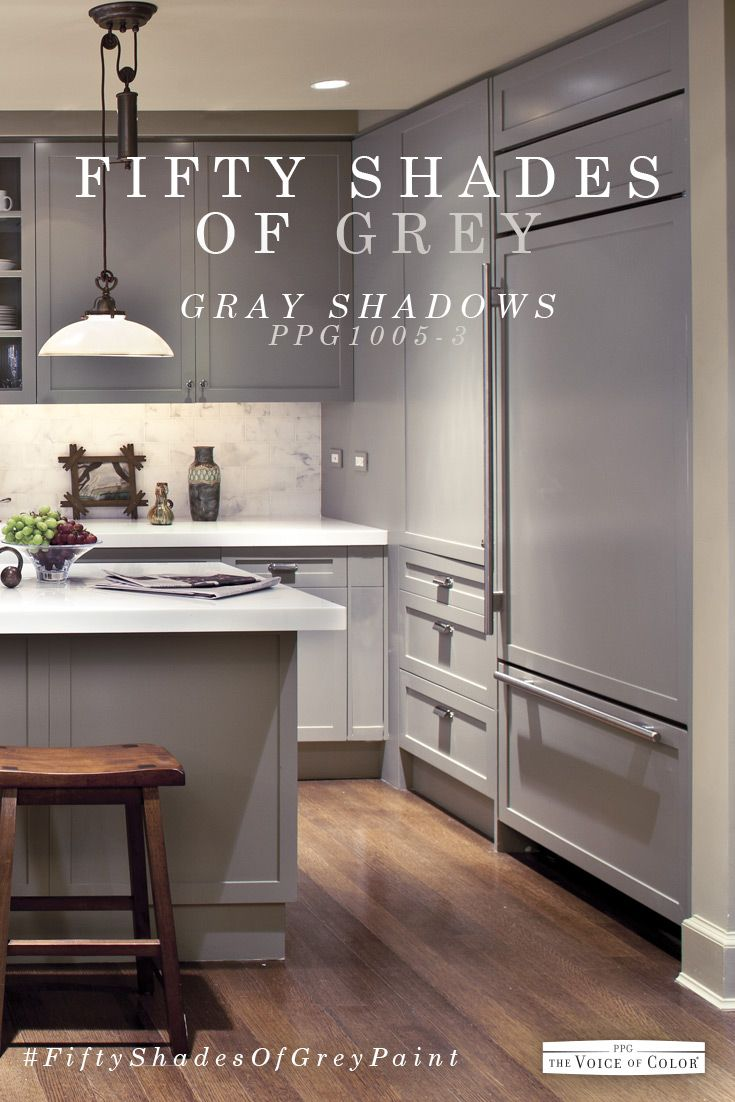 This Modern Sleek Gray Kitchen Color Scheme Features Gray Shadows Paint Color Grey Painted Kitchen Kitchen Cabinets Color Combination Kitchen Colour Schemes