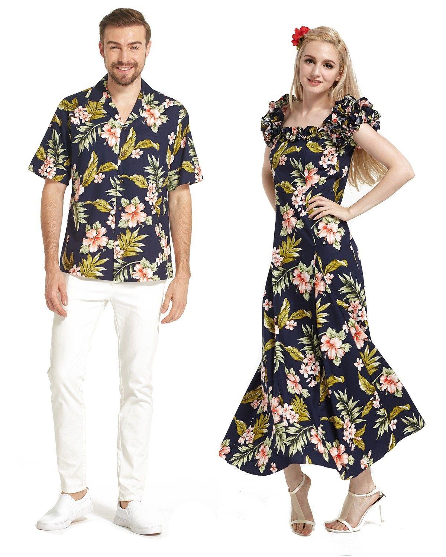06239bd0ff Made in Hawaii Couple Matching Shirt and Short Sleeve Muumuu Dress in Navy  Pink