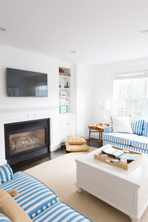 Nantucket living room reveal decor interior design pinterest living room room and for Downstairs living room ideas