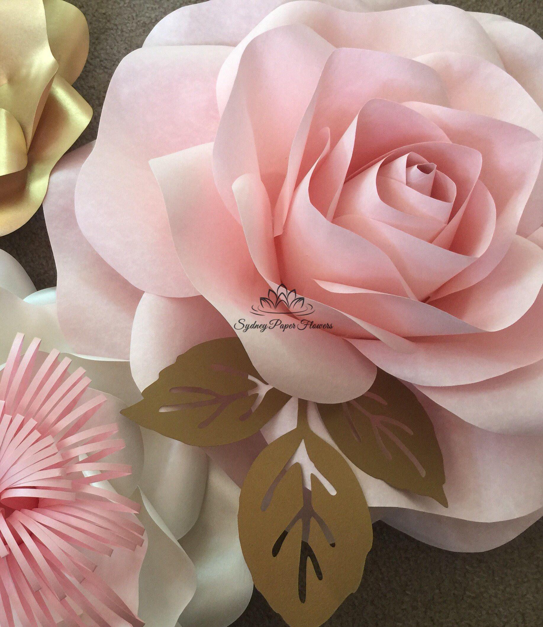 Wide Open Rose Paper Flower Video Tutorial Template Paper Flower