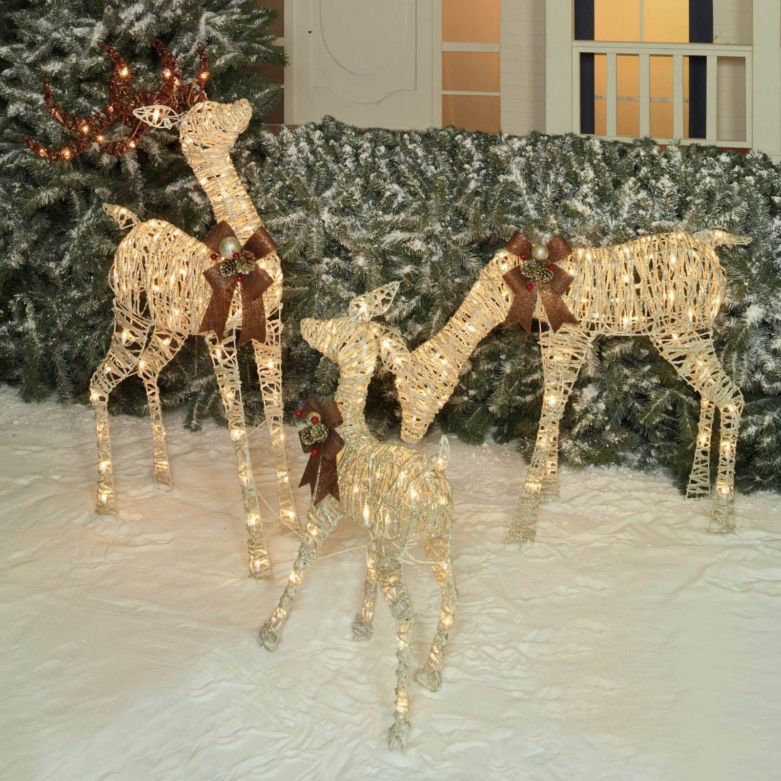 outdoor lightedpre lit 3 pc deer family display scene christmas yard art