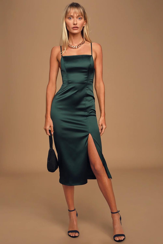 Hold Your Hand Hunter Green Satin Midi Dress Green Satin Dress Satin Midi Dress Vegan Leather Midi Skirt [ 1500 x 1000 Pixel ]