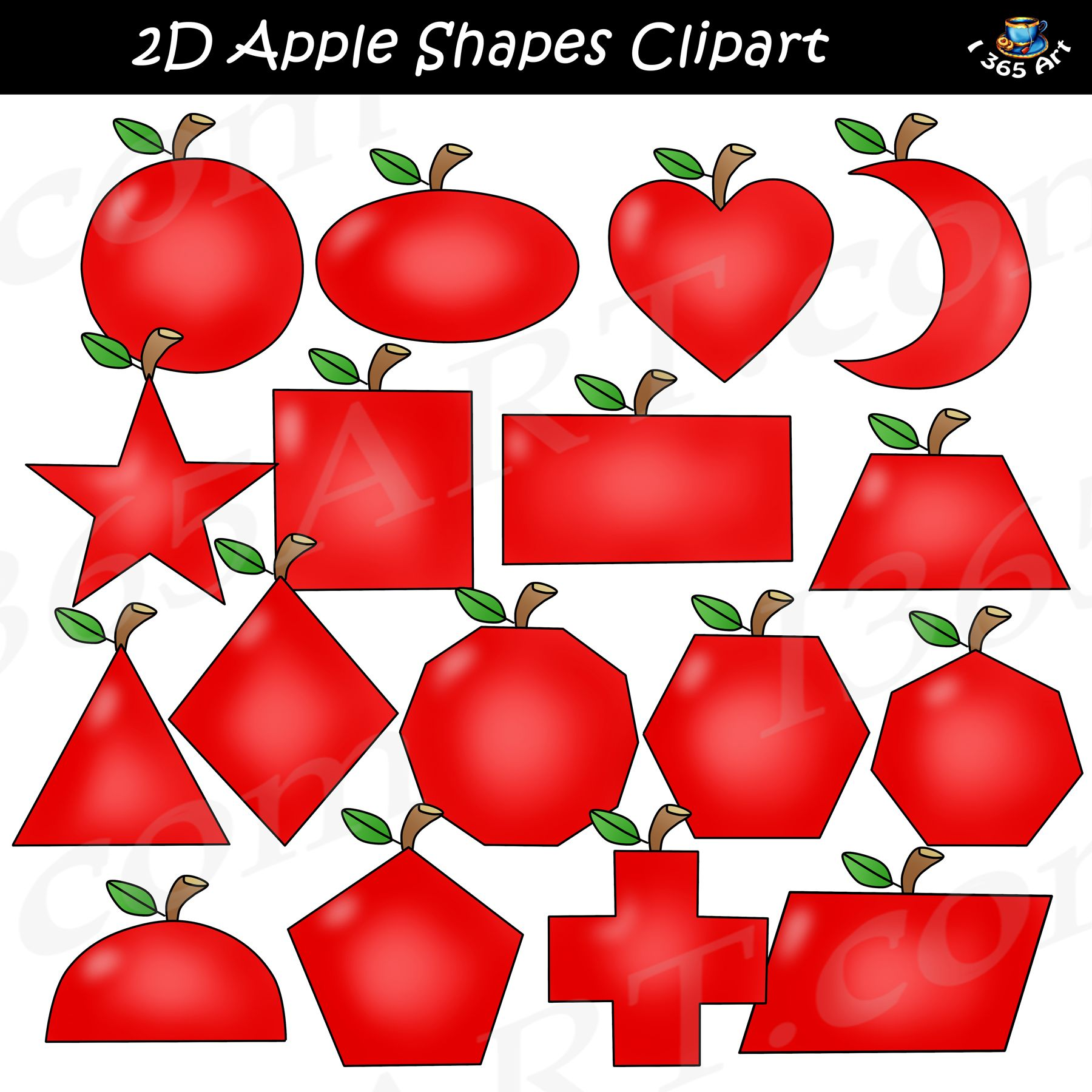 2D Apple Shapes Clipart Graphics Download (With images