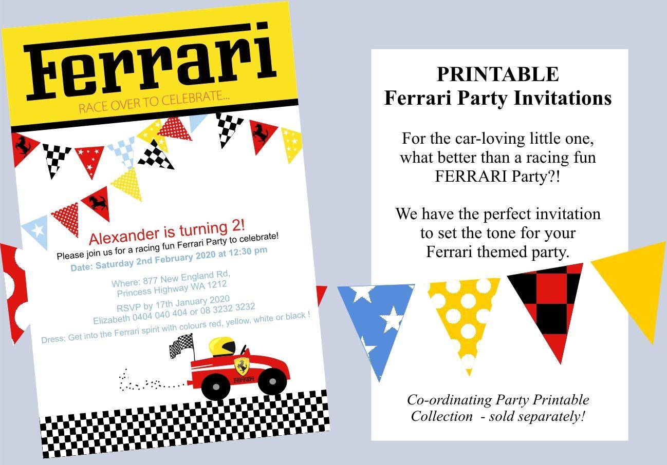 Ferrari Party Invitations | Boys things | Pinterest | Ferrari party ...