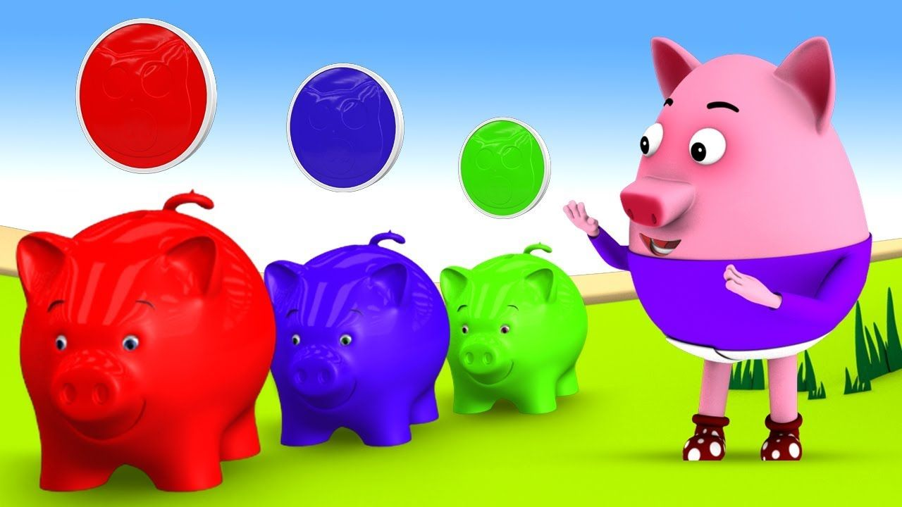 Learn Colors for Children with Little Baby Pig Color Coins in Piggy ...
