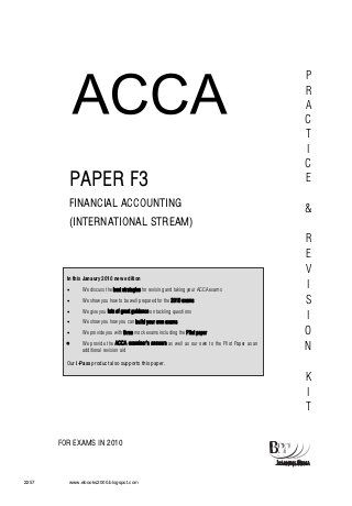 F3 financial accounting (int )-revision kit-bpp | College