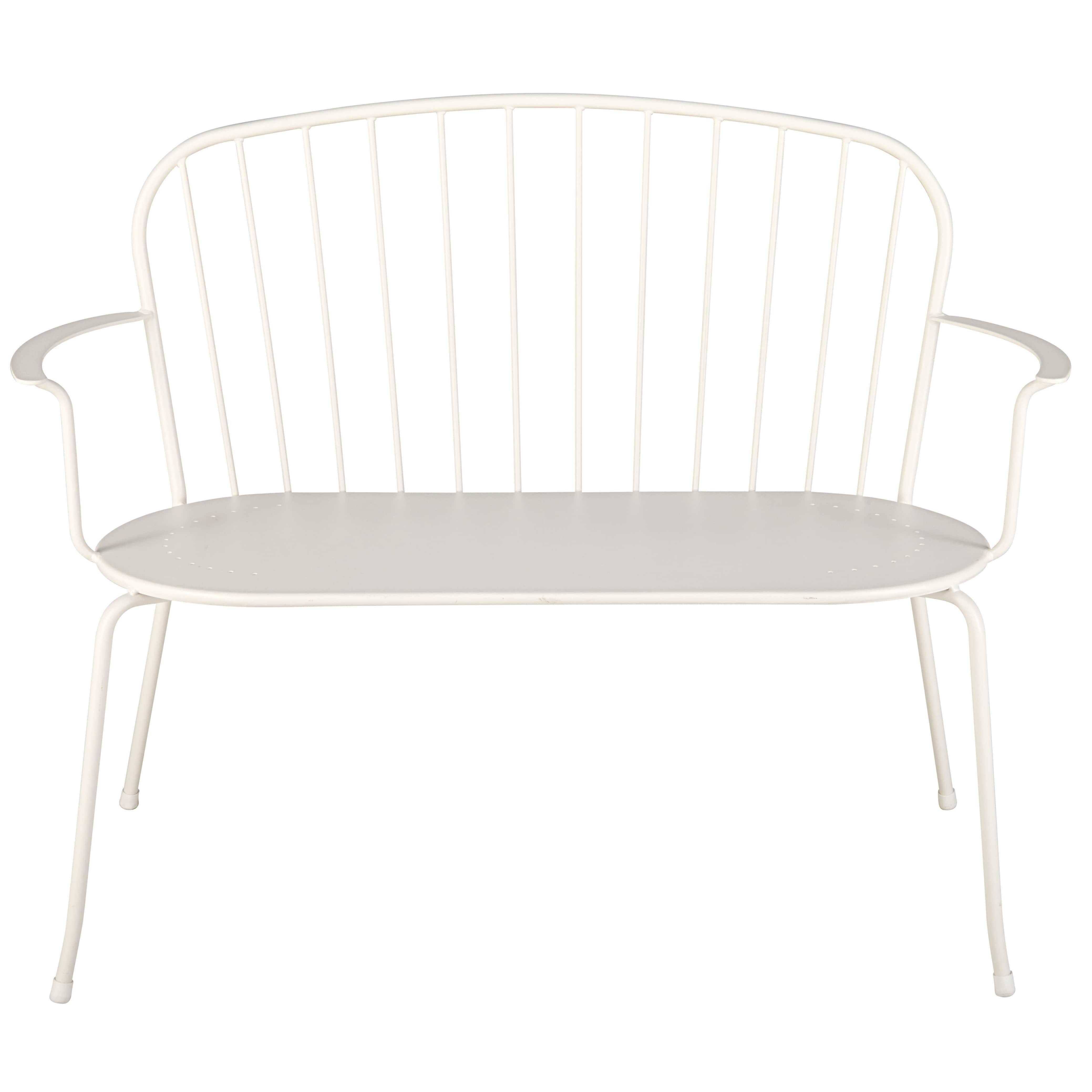 stapelbare gartenbank 2 3 sitzer aus elfenbeinfarbenem metall holly interior love pinterest. Black Bedroom Furniture Sets. Home Design Ideas