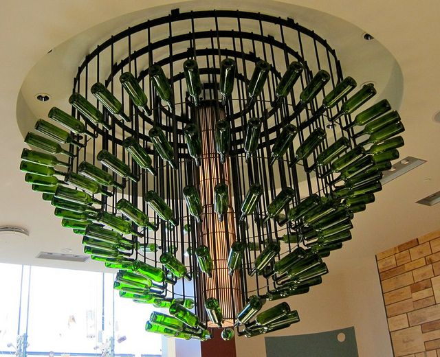 Awesome chandelier made of wine bottles Quite fitting for Sonoma – Wine Bottle Chandelier