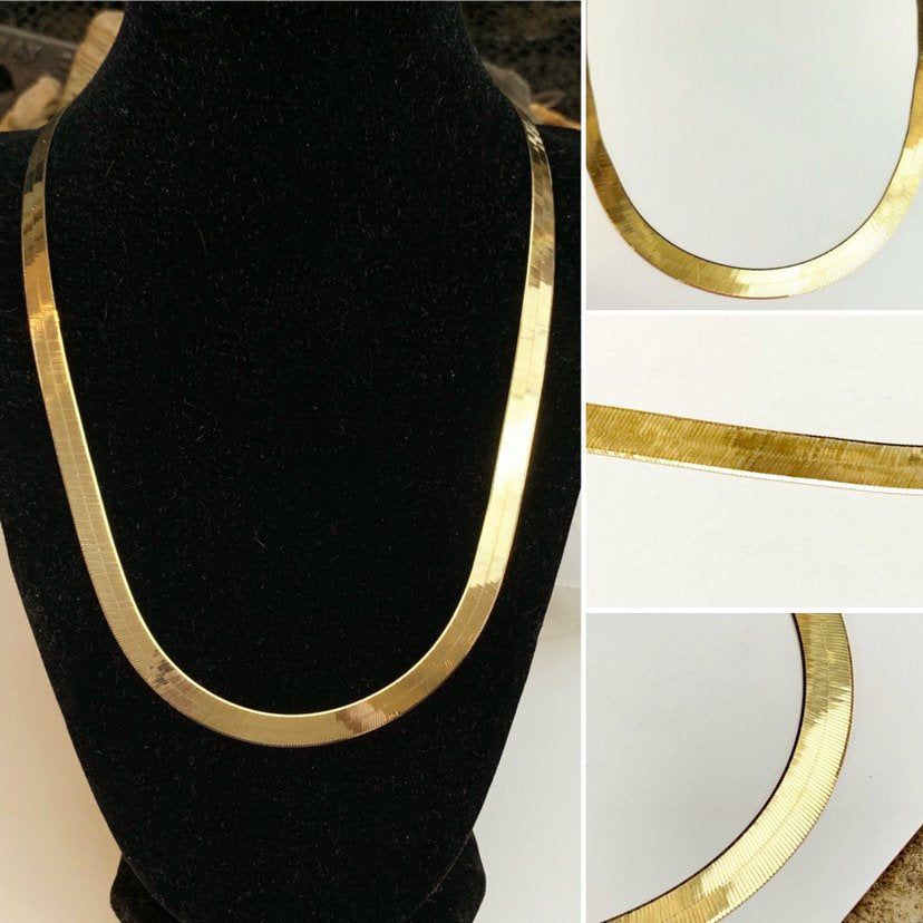 Italian 10k Yellow Gold Flexible Patterned Flat Herringbone Etsy Gold Jewelry For Sale Fine Gold Jewelry Yellow Gold
