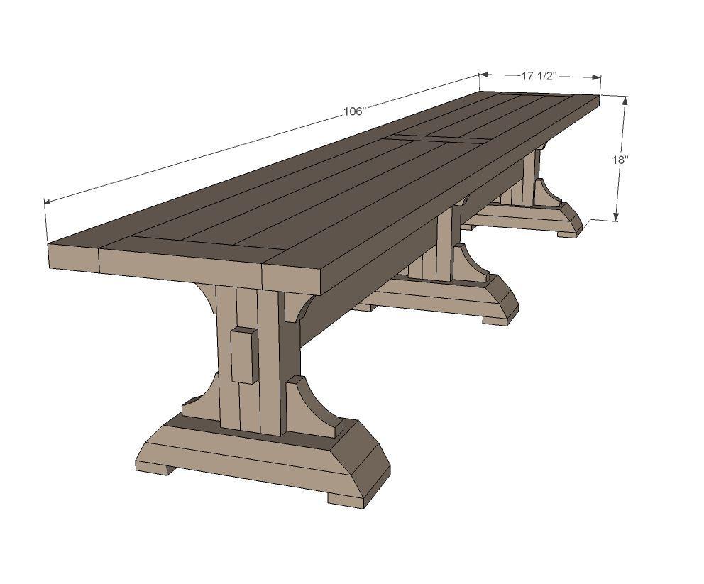 Ana white triple pedestal farmhouse bench diy projects