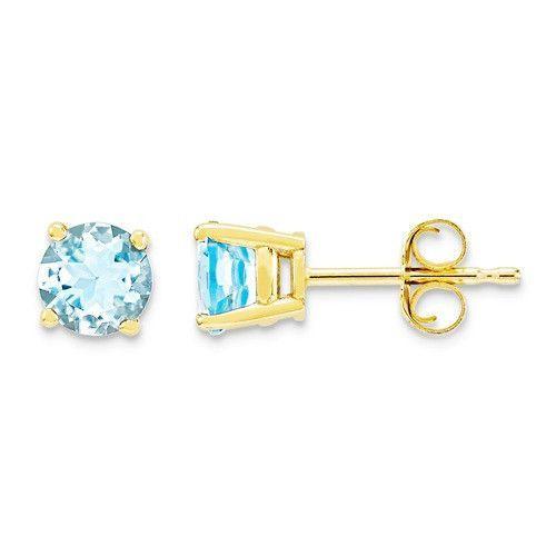 14k Yellow Gold 5mm Round Genuine Aquamarine Earrings