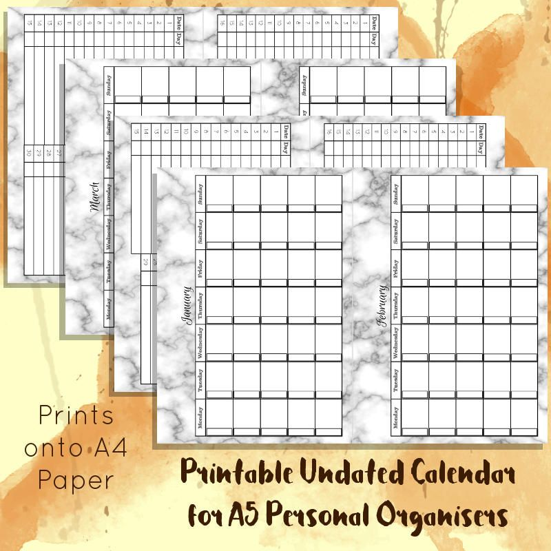 Printable Marble Undated Monthly Calendar For A5 Sized