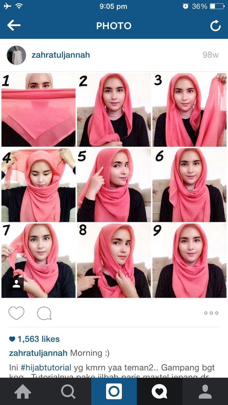 Pin By Kar On Hijab Style Hijab Style Tutorial Simple Hijab Square Hijab Tutorial