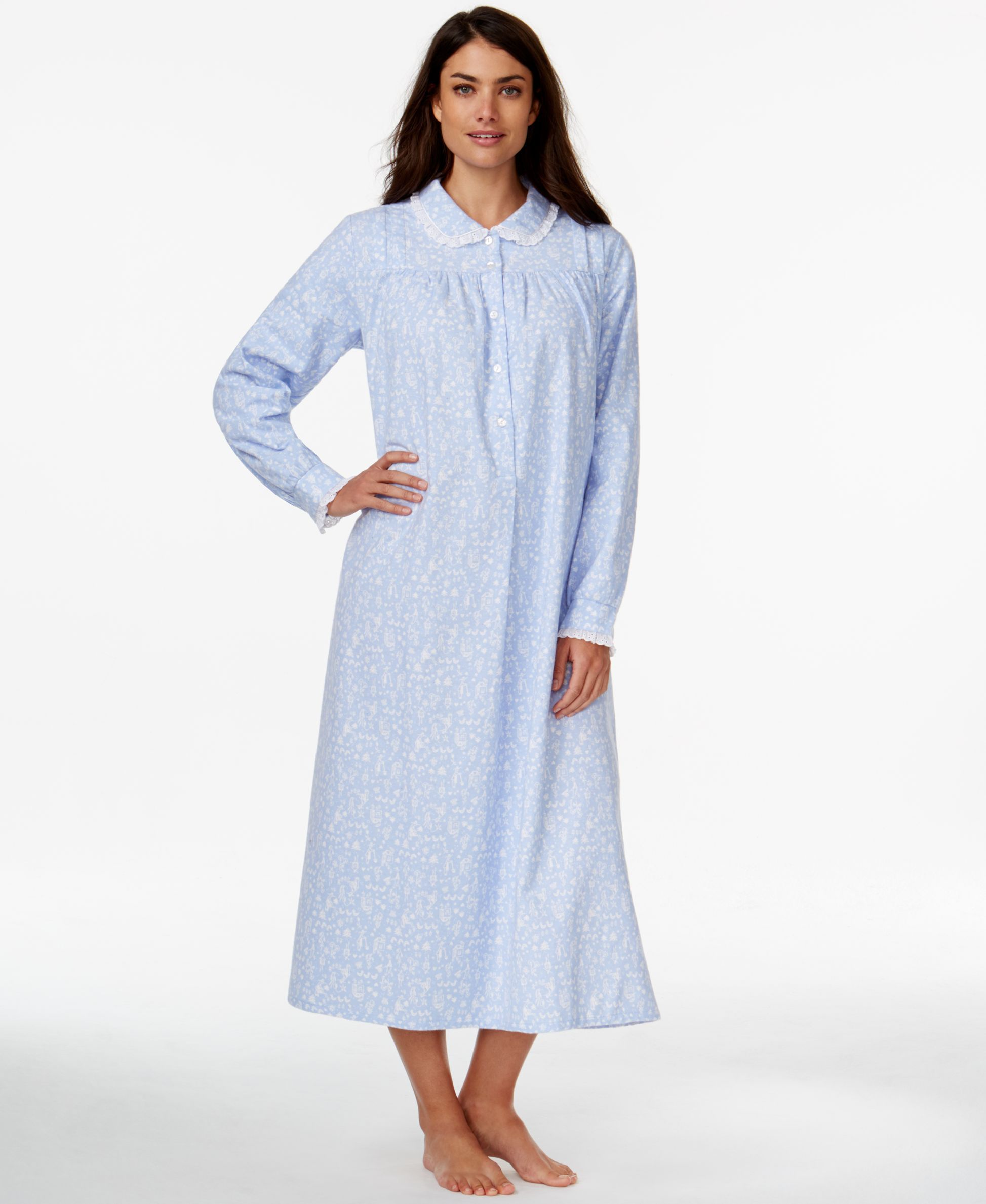 f5c22450ec Lanz of Salzburg Collared Flannel Nightgown