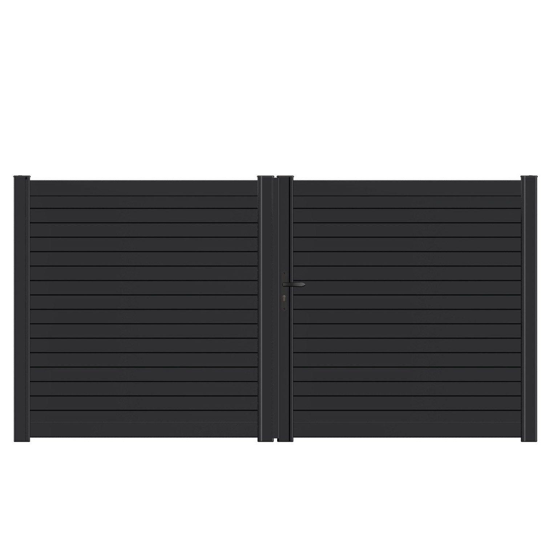 Portail Battant Aluminium Concarneau Noir Naterial L 300x H 153 Cm Concarneau Portail Et Noir
