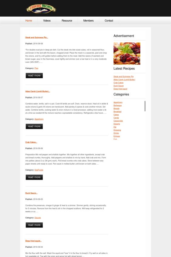 Codeigniter Cookingrecipes CMS   http://cookingrecipes.totalh.net/