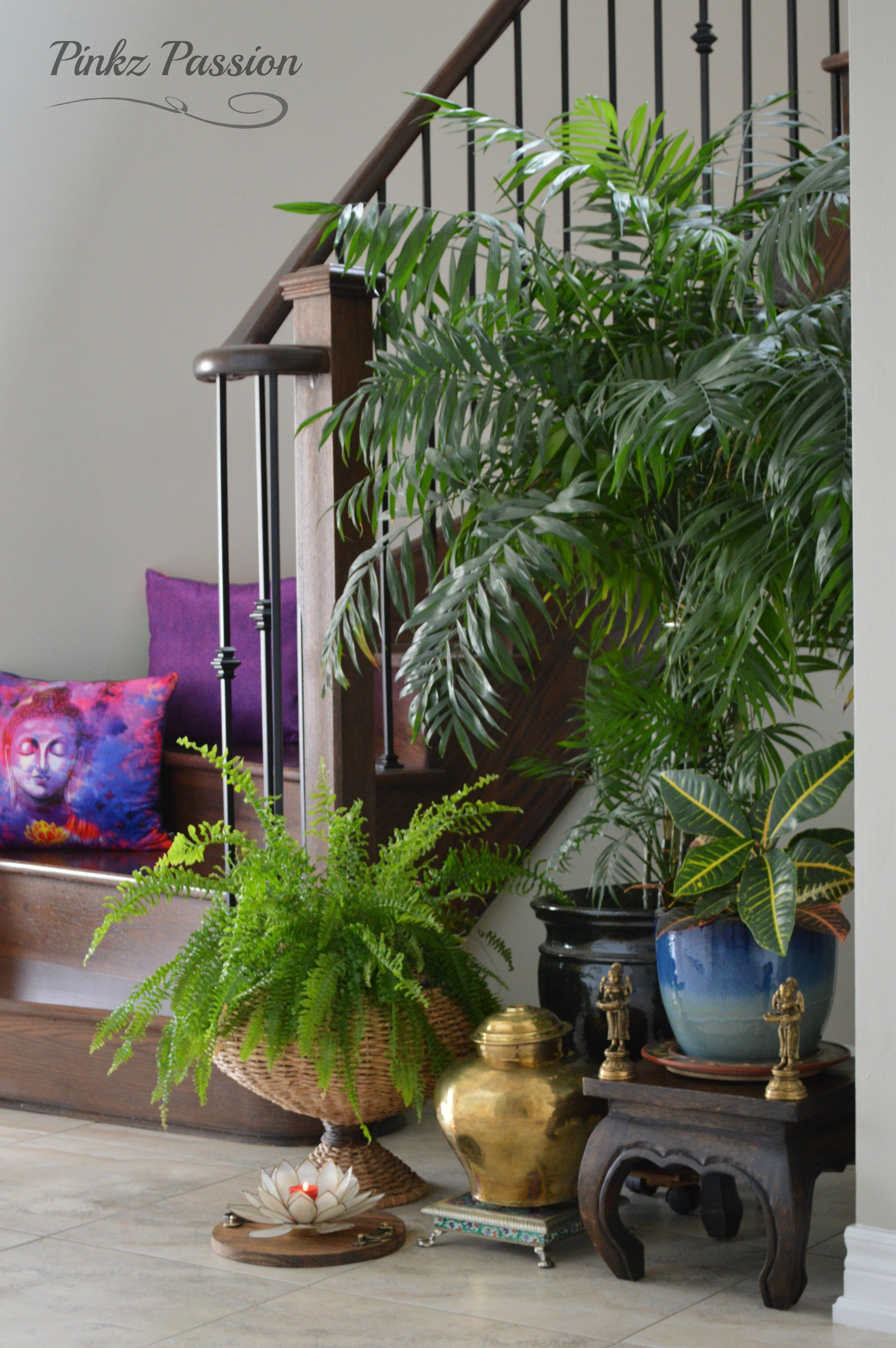 Home decor, staircase landing decor, plant styling, indoor