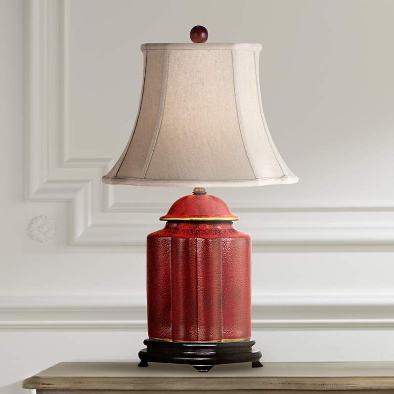 Red Lacquer Scallop Tea Jar Table Lamp N1951 Lamps Plus Jar