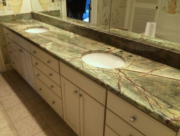 Vanity Top 3cm Rain Forest Green With A 5 8 Radius Edge Detail