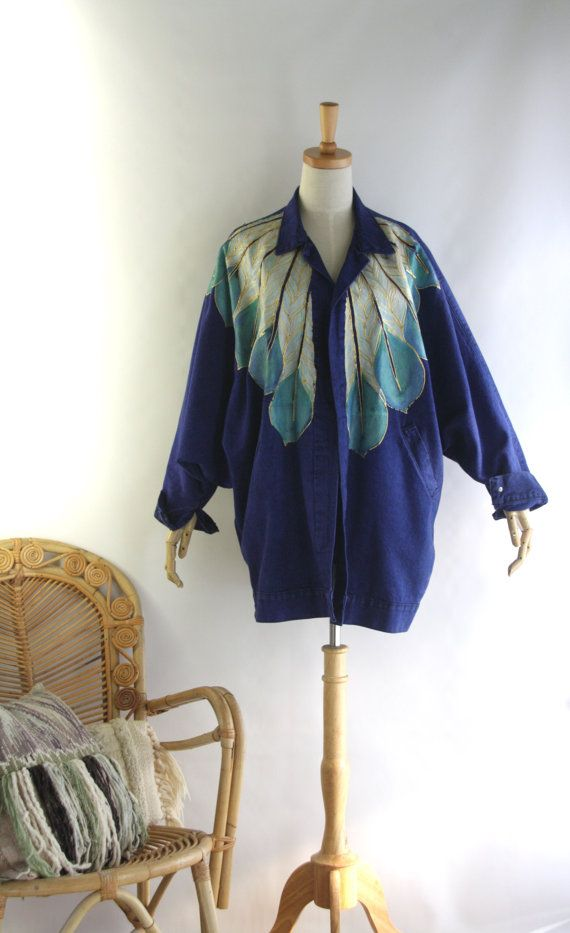Avant Garde Hand Painted Jacket. Denim feather by SwanDiveVintage, $90.00