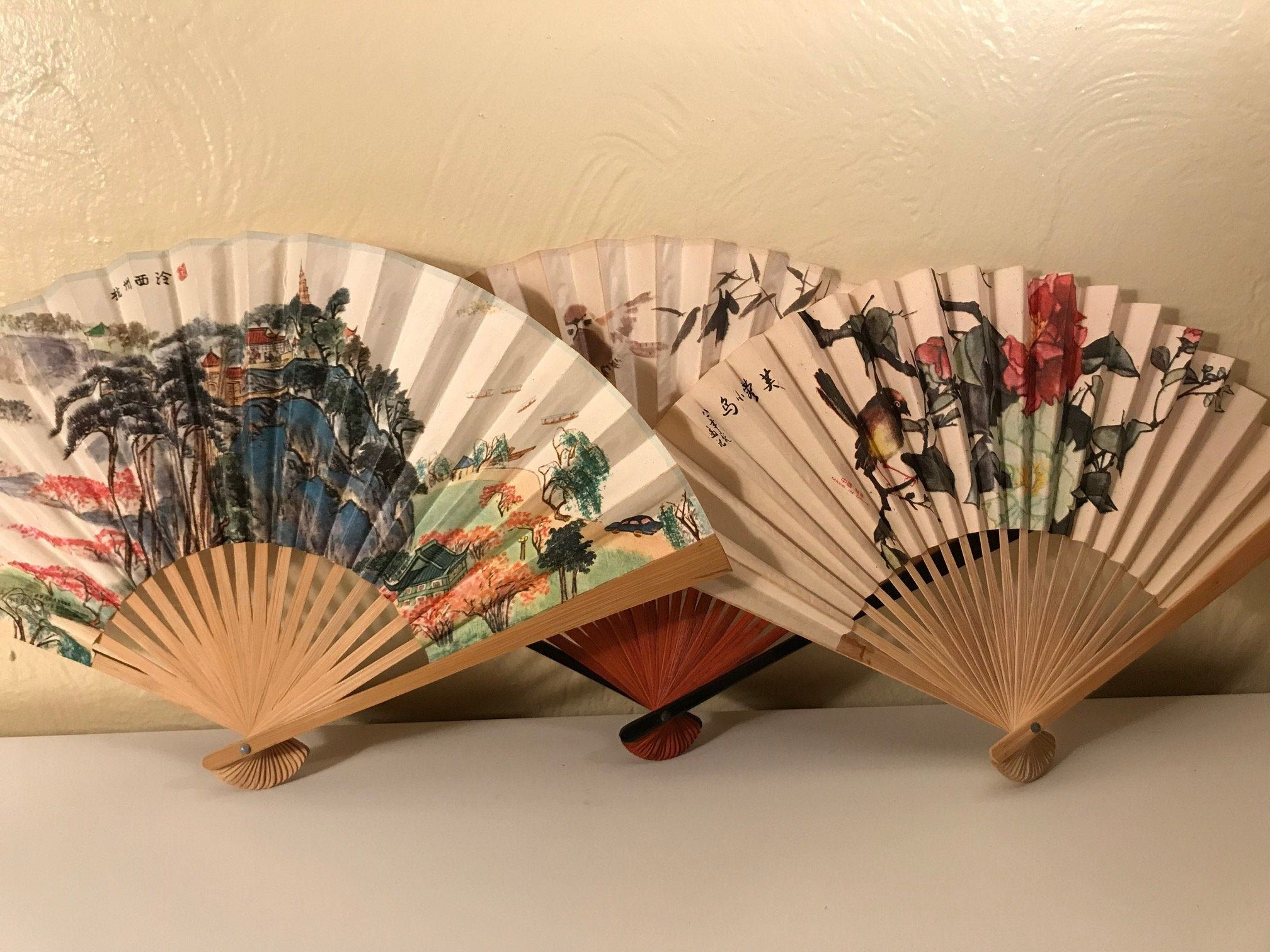 3 Asian Wood Folding Fans Decorative Ornate Hand Held Paper Fans Vintage Chinese Home Decor Beautiful Far East Collectible Paper Fans Chinese Wall Art Decor