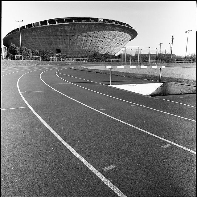 "The St Nazaire sports palace called ""the soucoupe""; (flying saucer). St Nazaire was almost completely destroyed after WW2, leaving room for reconstruction. The building was designed by  Vissuzaine, Longuet, Rivière and Joly. 1970."