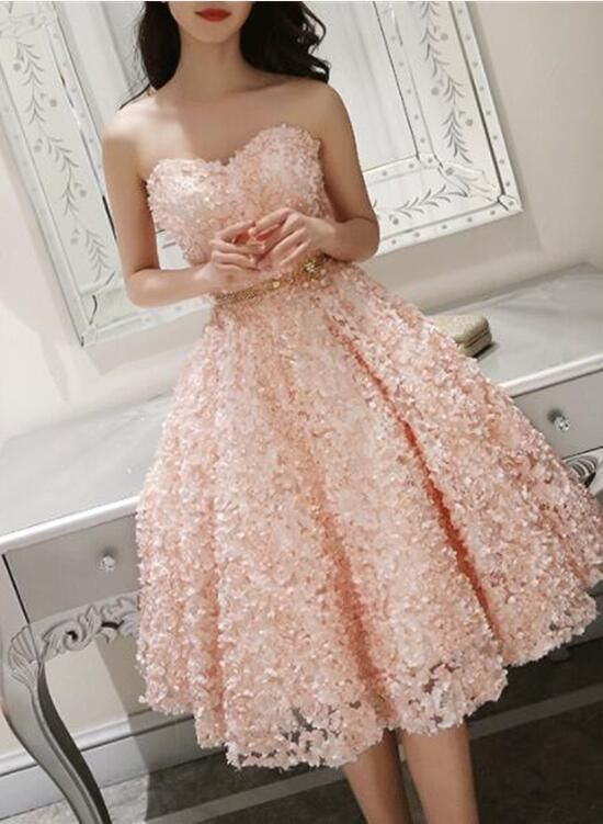 Cute Pink Floral Lace Short Sweetheart Romantic Party Dress Teen