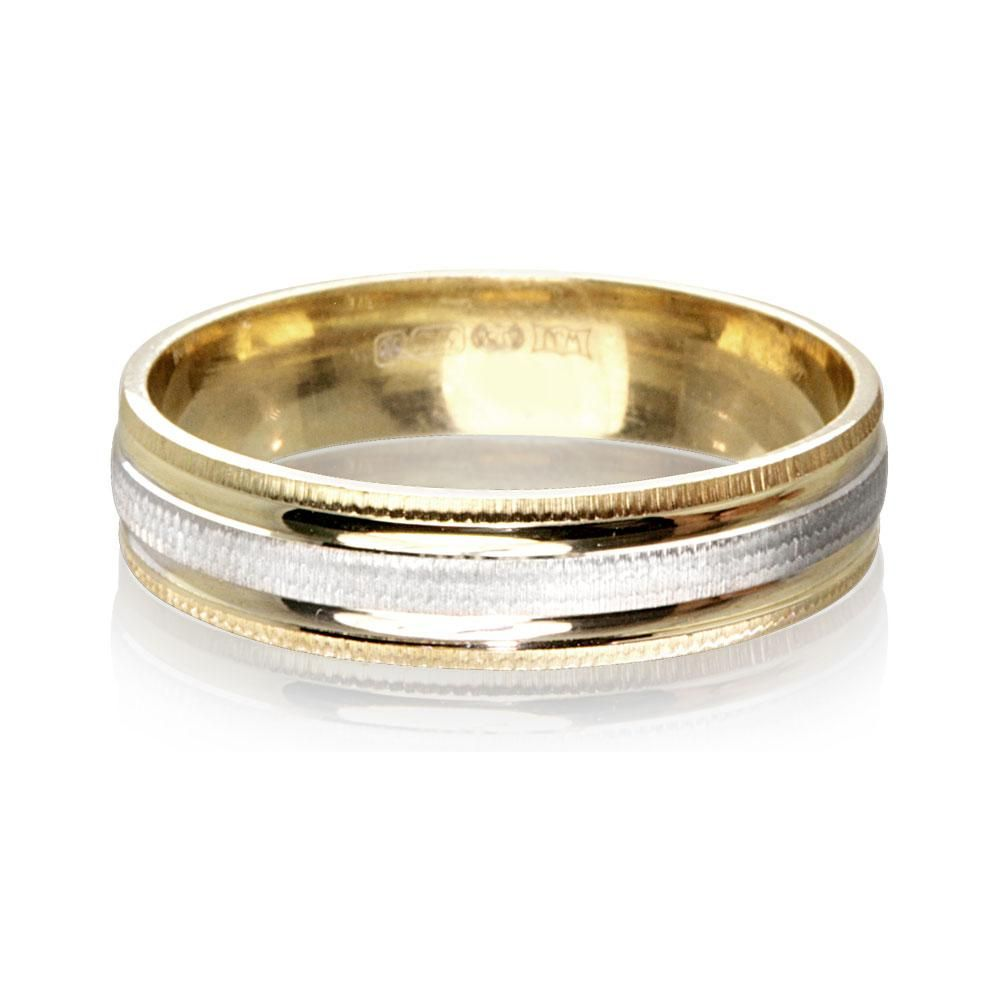 9ct Gold 2 Colour Luxury Weight Las Wedding Ring 4 5mm Warren James Jewellery