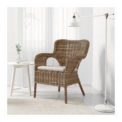 IKEA - BYHOLMA / MARIEBERG, Lepotuoli, , Käsin tehty. Jokaisen tuolin pyöreät muodot ja kauniit yksityiskohdat ovat yksilöllisiä.Luonnonkuiduista valmistettu kaluste on todella kevyt mutta silti vankka ja kestävä.Tuoli on pinottava, joten se vie vähän tilaa säilytettäessä.Tyyny on käännettävä.Helppo pitää puhtaana konepestävän irtopäällisen ansiosta.