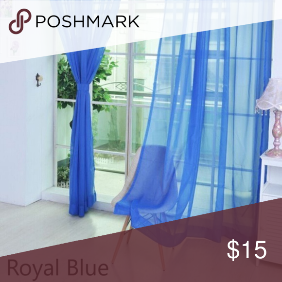 Pair Sheer Voile Curtain Panel Pair Royal Blue Nwt Boutique In