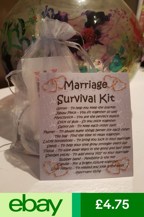 Marriage Survival Kit Silver Unique Fun Novelty Gift Card All In One Diy Wedding Gifts Wedding Gift Baskets Bride Gift Basket