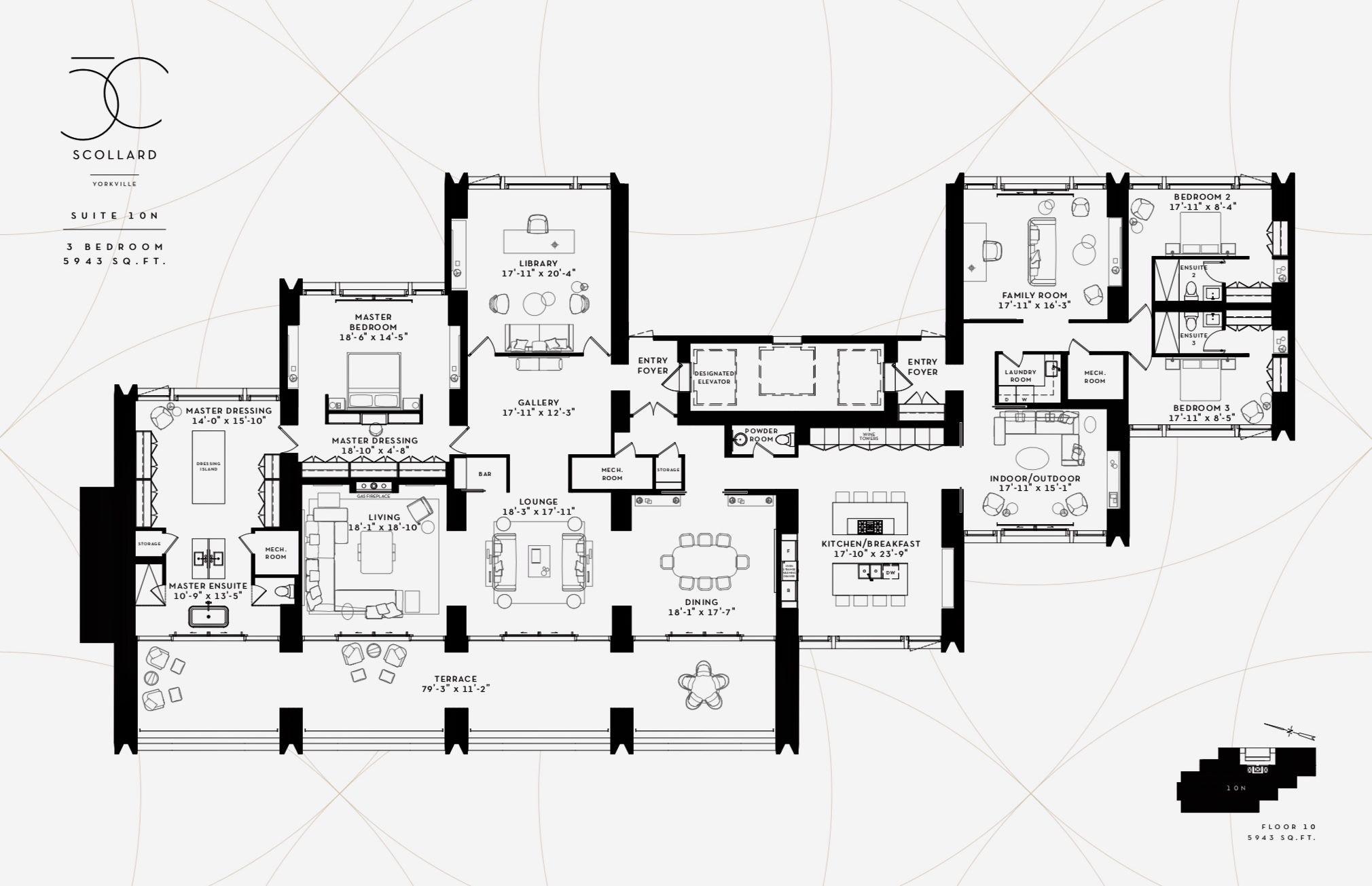 50 Scollard Yorkville Toronto Suite 10n Floor Plans City Living Apartment Apartment Plans