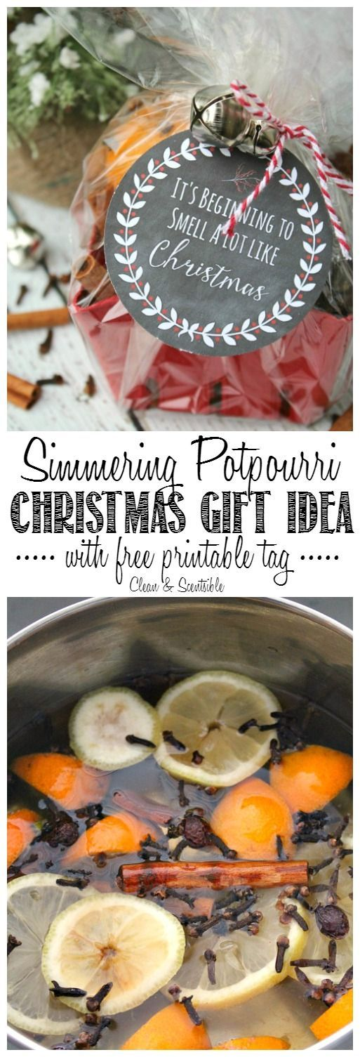 Simmering Christmas potpourri recipe and cute gift idea with free printable tag. // http://cleanandscentsible.com