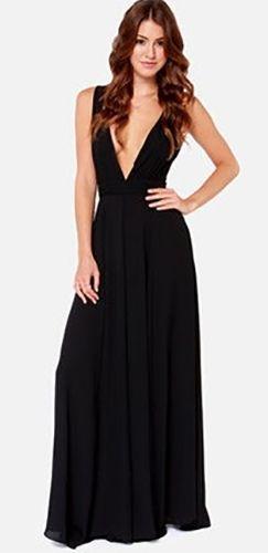 Black Sleeveless Plunge V Neck Sheer Mesh Back Maxi Dress | New ...