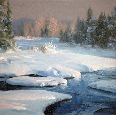 Jackson Evening By Michael Godfrey Winter Landscape Painting Oil Painting Landscape Winter Painting