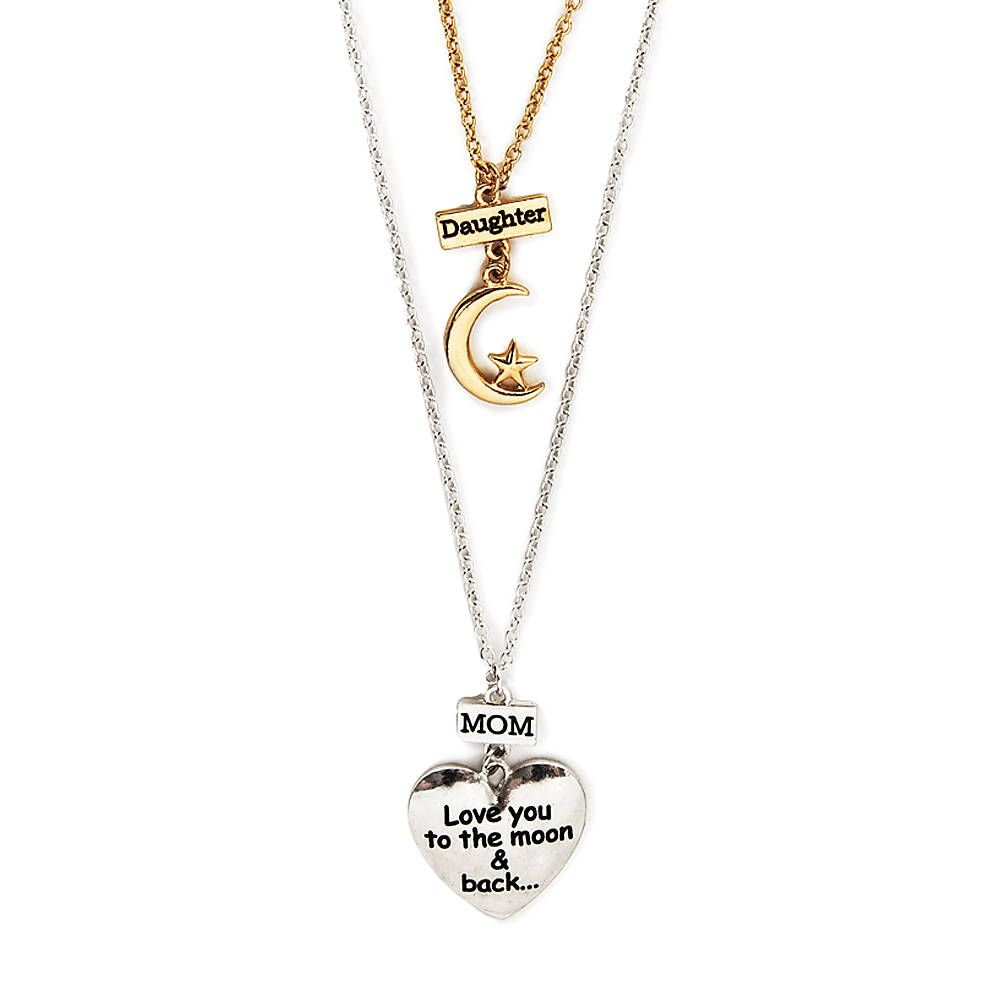 Pshow the special bond you share with your mom with this set of pshow the special bond you share with your mom with this set of pendant necklaces the necklace for mom features a silver heart with the phrase love you aloadofball Choice Image