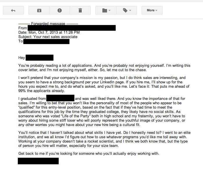 the worst cover letter ever written literally