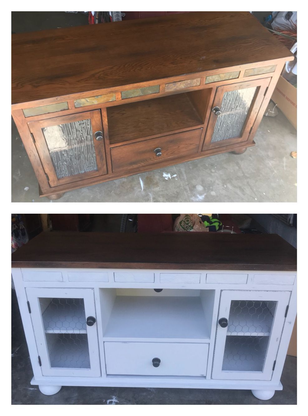 Diy Tv Stand With Glass Doors Tv Stand Makeover Diy Tv Stand Farmhouse Style Tv Stand