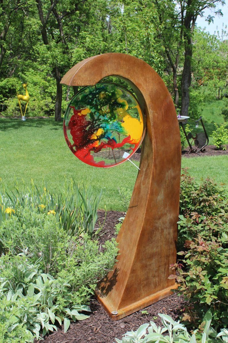Free standing sculpture metal etsy in 2020 garden art