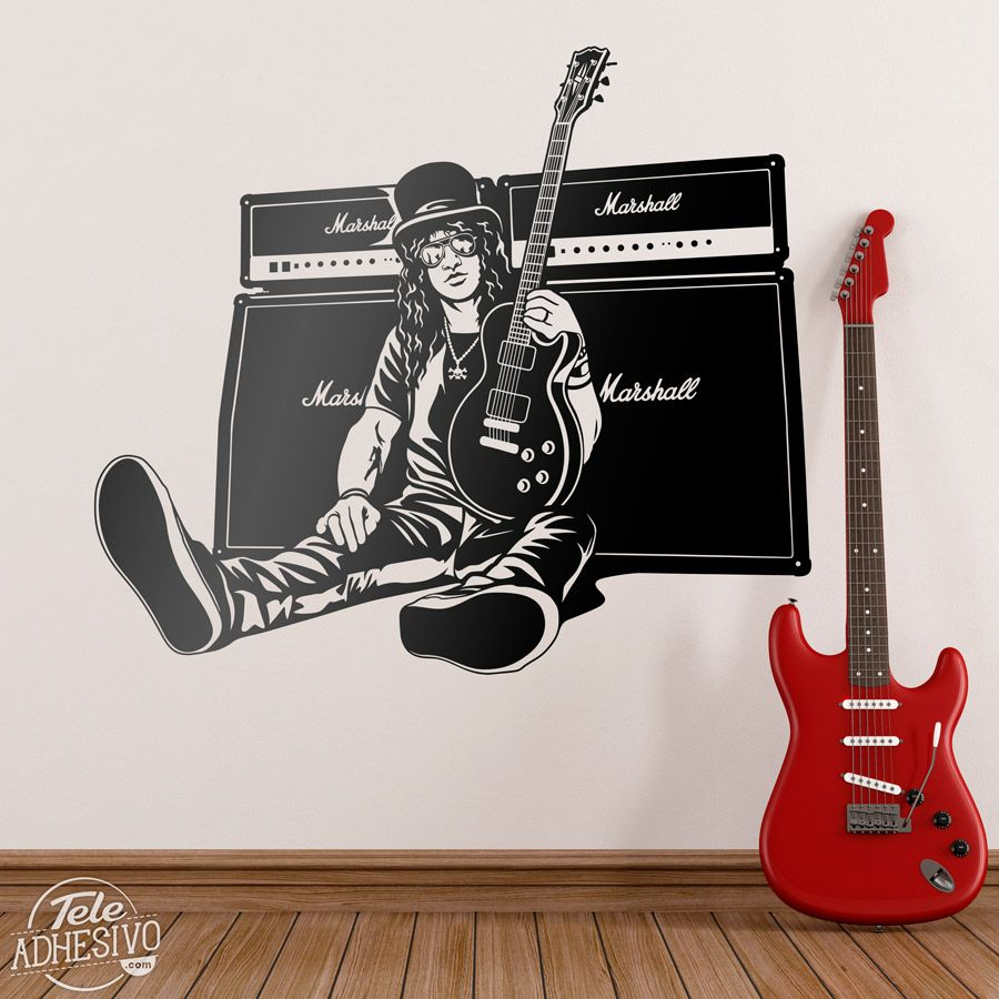 Vinilos decorativos slash guitarra y altavoces m sica for Vinilos decorativos