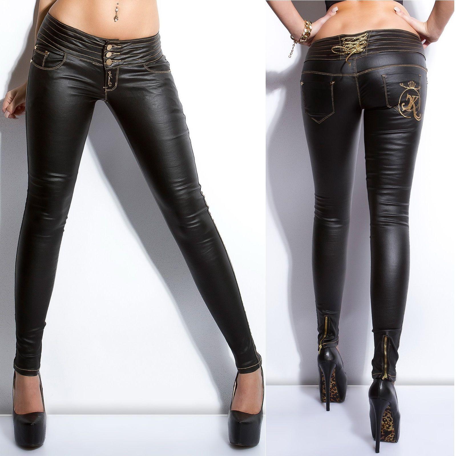 3abc7b1b367 Women s Slim Skinny Back Lacing Faux Leather Pant - Xs   S   M   L   Xl