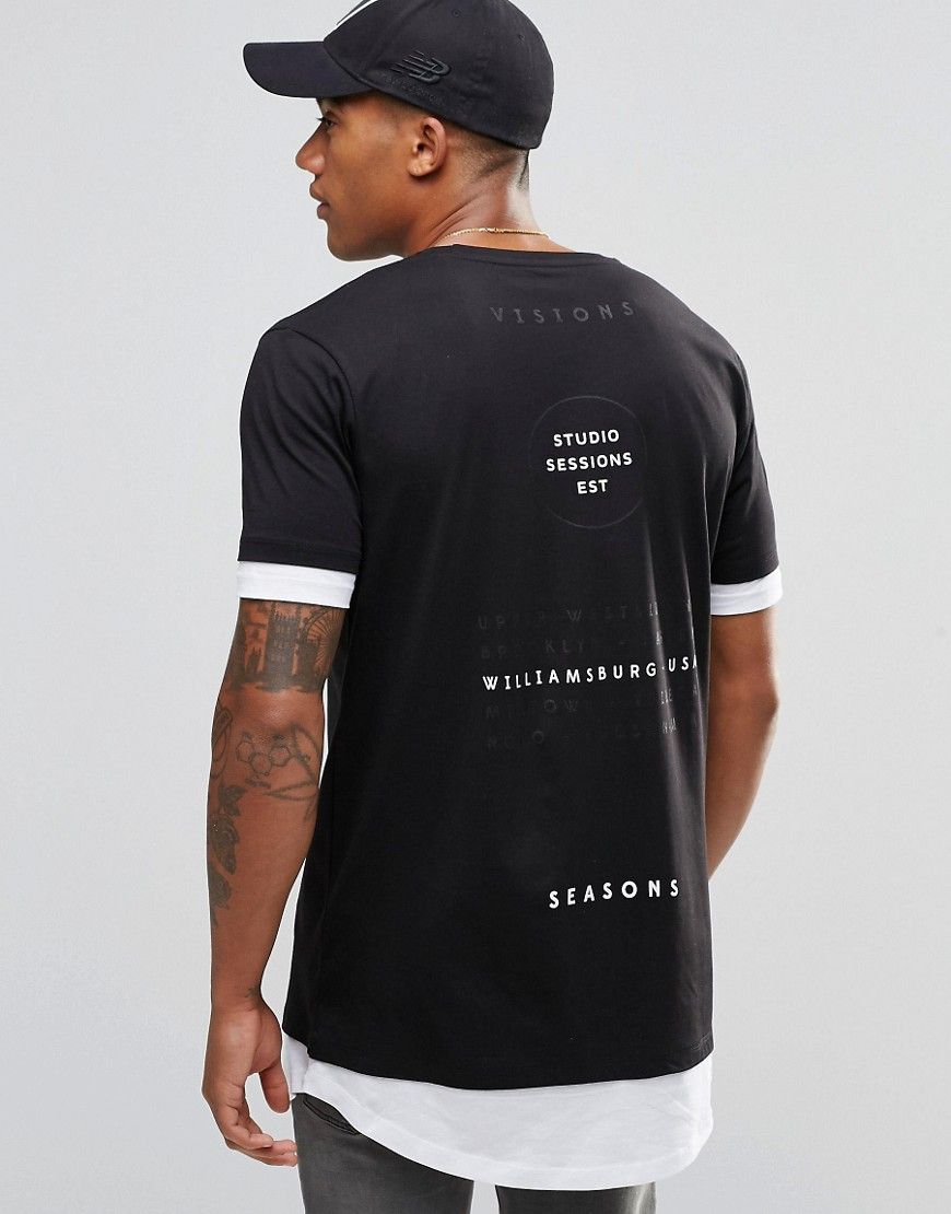 Black t shirt asos - Image 1 Of Asos Super Longline T Shirt With Text Back Print And Curved Hem