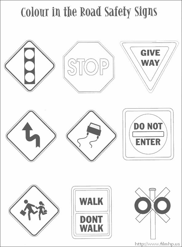 traffic safety signs coloring pages riicky Pinterest