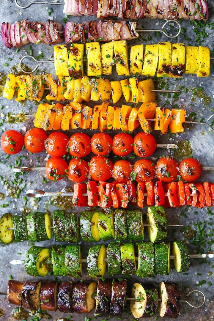 Rainbow Vegetable Kabobs - Damn Delicious